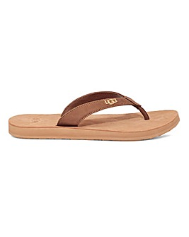 Ugg Tawney Logo Leather Flip Flop Sandals Standard D Fit