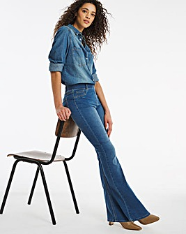 Erin Mid Blue Pull On Bootcut Jeggings