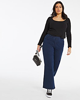 Lottie Dark Indigo Pull On Wide Leg Jeggings