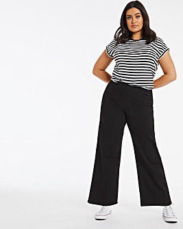 Lottie Black Pull On Wide Leg Jeggings