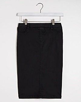 Black Amber Pull-On Stretch Denim Tube Skirt
