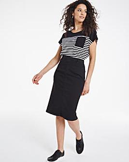 Amber Black Pull-On Denim Tube Skirt