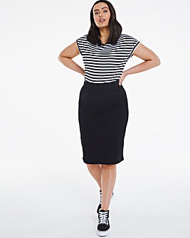 Amber Black Pull-On Stretch Denim Tube Skirt