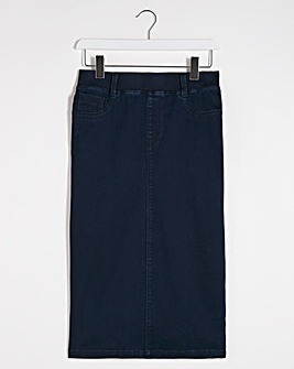 Indigo Amber Pull-On Stretch Denim Tube Skirt