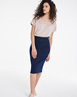 Amber Indigo Pull-On Stretch Denim Tube Skirt