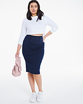 Amber Indigo Pull-On Stretch Denim Tube Skirt