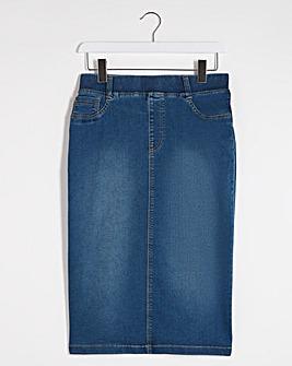Amber Blue Pull-On Denim Tube Skirt