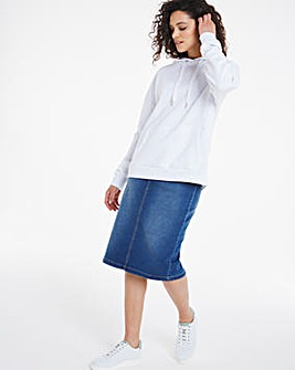 Amber Mid Blue Pull-On Stretch Denim Tube Skirt