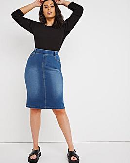 Amber Mid Blue Pull-On Stretch Denim Tube Skirt