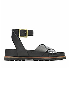 Clarks Orianna Cross Leather Sandals Wide E Fit