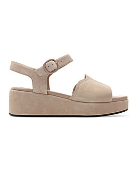 Clarks Kimmei Way Suede Low Wedge Sandals Standard D Fit