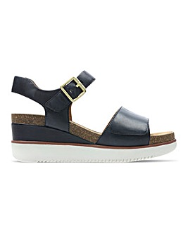 Clarks Lizby Leather Wedge Sandals Standard D Fit
