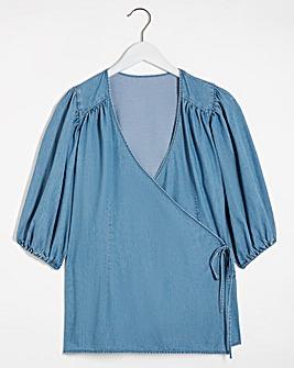 Mid Blue Puff Sleeve Denim Wrap Top