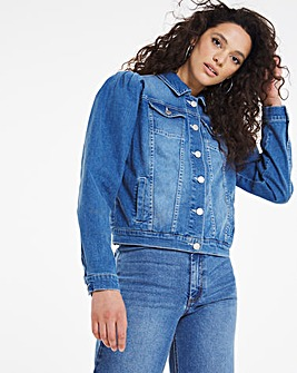 Blue Puff Sleeve Denim Jacket