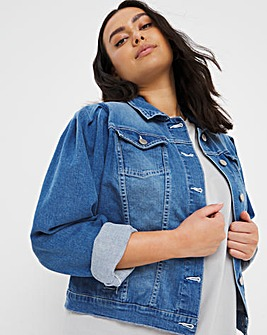 Blue Puff Sleeve Denim Jacket