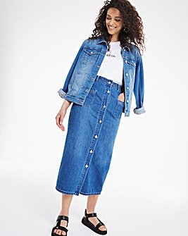 Mid Blue Button Front Soft Denim A-Line Skirt