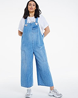 Vintage Blue Slouchy Wide Leg Dungaree Romper