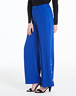 Wide Leg Trousers with Popper Detail