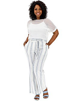 Linen Stripe Wide Leg Trousers