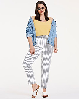 Linen Stripe Tapered Leg Trousers