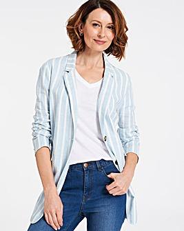 Linen Mix Stripe Slouchy Blazer