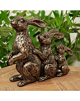 Bronze Effect Rabbit Family Figurine