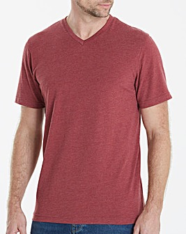 Capsule V-Neck Red Marl T-shirt Long