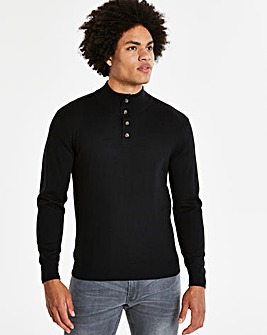 Black Button Neck Jumper