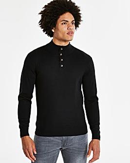Black Button Neck Jumper