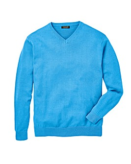 Azure Blue V-Neck Cotton Jumper