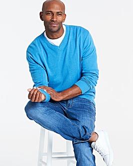 Azure Blue V-Neck Cotton Jumper