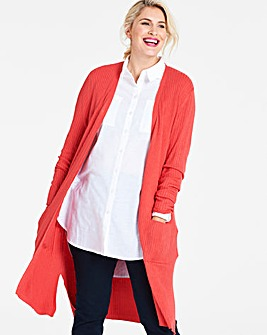 Longline Ribbed Edge To Edge Cardigan
