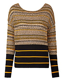 Stripe Open Knit Jumper