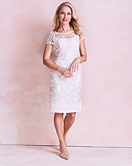 Gina Bacconi Embroidered Border Dress