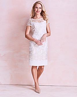Gina Bacconi Embroidered Border Dress