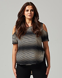 AX Paris Curve Stripe Cold Shoulder Dip Back Top