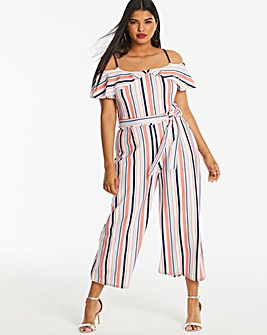 Quiz Curve Stripe Cold Shoulder Jumpsuit
