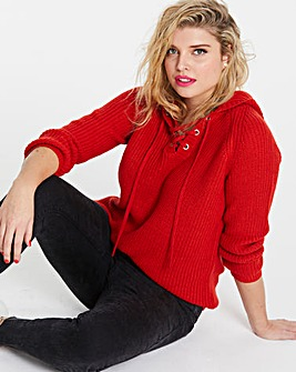 Red Hooded Sporty Jumper