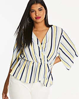 Quiz Curve Stripe Wrap Peplum Top