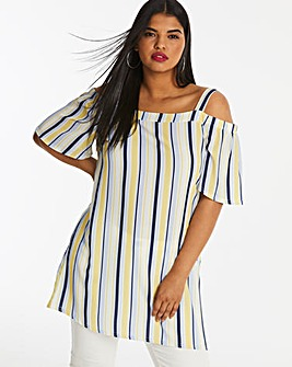 Quiz Curve Stripe Cold Shoulder Tunic