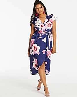 Quiz Curve Floral Printed Wrap Dress