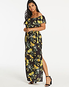 Quiz Curve Floral Print Bardot Dress