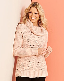 Blush Pointelle Cowl Neck Jumper