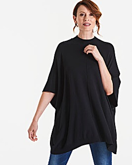 High Neck Pullover Poncho