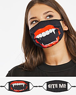 2 Pack Bite Me Halloween Face Coverings