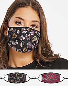 2 Pack Sugar Skull Face Coverings
