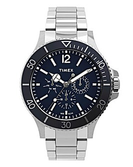 Timex Men's Harborside 43mm Stainless Steel Bracelet Blue Dial Watch