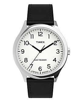 Timex Men's Easy Reader 40mm Silver-tone Case Black Leather Strap Watch