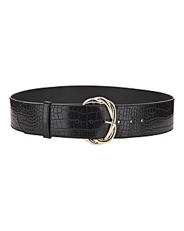 Black Croc Entwinted Statement Buckle Waist Belt