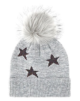 Grey Star Lurex Pom Pom hat